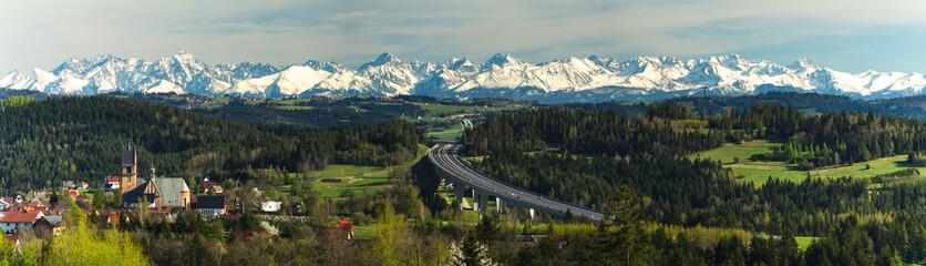 Panorama of the Tatra Mountains with the Zakopianka road