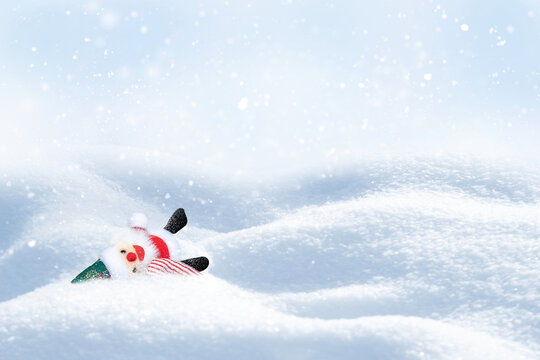 Winter Christmas card. Bright Santa on a snowy background.