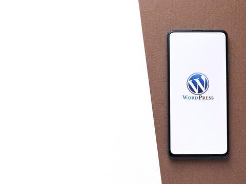 Assam, india - Augest 2, 2020 : Wordpress logo on a smartphone screen.