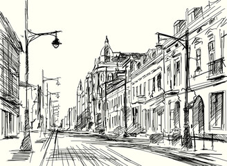 Fototapeta Szkic ulicy Piotrkowskiej w Łodzi. Panorama miasta Łódź obraz