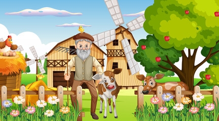 Farm at daytime scene with old farmer man and farm animals