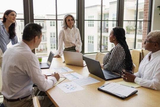 Business colleagues in team meeting, women leadership