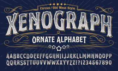 Obraz Xenograph ornate alphabet: an elegant old west alphabet with gold elements and engraved lines. Good for t-shirt artwork, tattoo parlor logos, circus, carnival and rodeo graphics, etc. - fototapety do salonu
