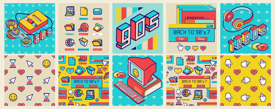 Old computer aesthetic square poster and seamless pattern. Sticker pack of retro computer elements. Nostalgia pixel window. 1980s -1990s style. Cool retrowave user interface and desktop illustration.