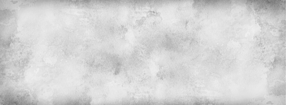 White background with grunge texture, watercolor painted marbled white background with vintage grunge textured design on stone gray color banner, distressed old antique parchment paper