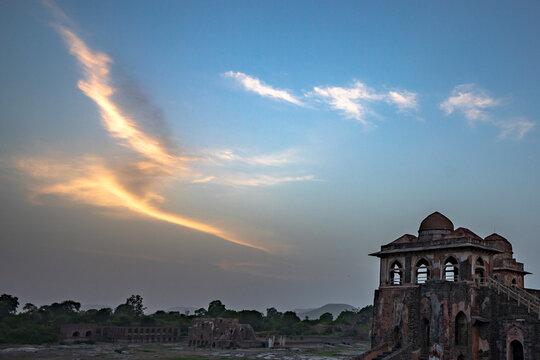 Jahaz Mahal Palace in Royal Complex, Mandu, Madhya Pradesh, India.