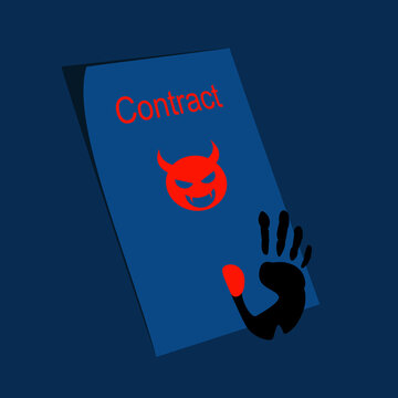 Devil contract and thumbprint. Concept illustration of deal with devil.