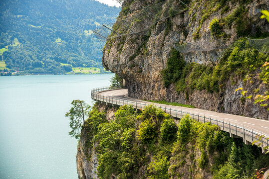 a road on the cliffs alongside the Neuchatel lake in Switzerland