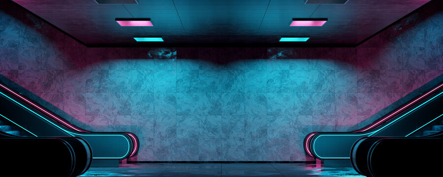 Realistic underground subway station Background with wet floors. Futuristic metro interior with blue and pink glowing neon lights and escalators. 3D Rendering