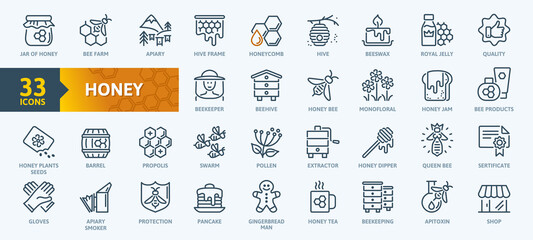 Obraz Honey, Apiary, Beekeeping - thin line web icon set. Contains such Icons as Beekeeper, Beehives, Propolis, Bee Farm and more. Outline icons collection. Simple vector illustration. - fototapety do salonu