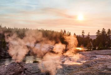 Yellowstone on sunset