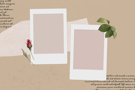 Blank collage photo frame template on beige background