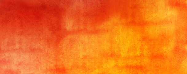 Horizontal yellow and orange grunge texture cement or concrete wall banner, blank background wallpaper