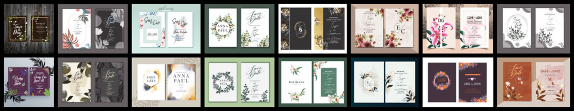 Floral Wedding Invitation card, save the date, thank you, rsvp, table label, tage template. Luxury wedding invitation card background with golden line art flower and botanical leaves, Organic shapes