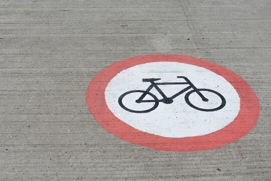 No bicycle ride sign on the road