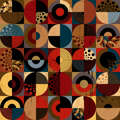 seamless background pattern, with circles, squares, paint strokes and splashes