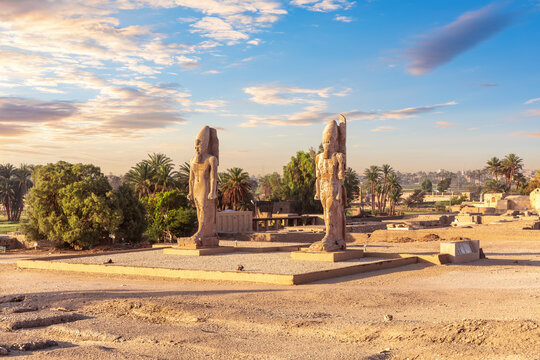 Colossal statues on the way to the Valley of kings, Luxor, Egypt