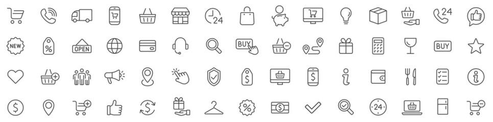 Obraz Shopping icons set. E-commerce icon collection. Online shopping thin line icons. Shop icons vector - fototapety do salonu