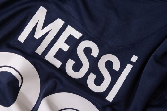 The Name of Lionel Messi on PSG Paris Saint Germain Jersey