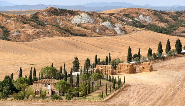 Typische Biancarne in der sanften Landschaft der Crete Senesi