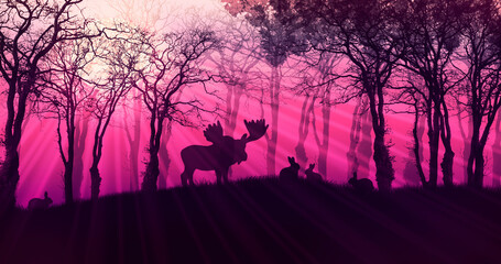 Magical illustration of nature with silhouettes of animals and trees, mysterious dark forest with glowing crimson sky and bright rays, fairy landscape with a juicy pink sky at dawn.