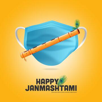 Krishna Janmashtami festival concept background with corona covid 19 safety mask with Flute