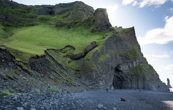 Basalt formations on black sand Reynisfjara beach, Iceland