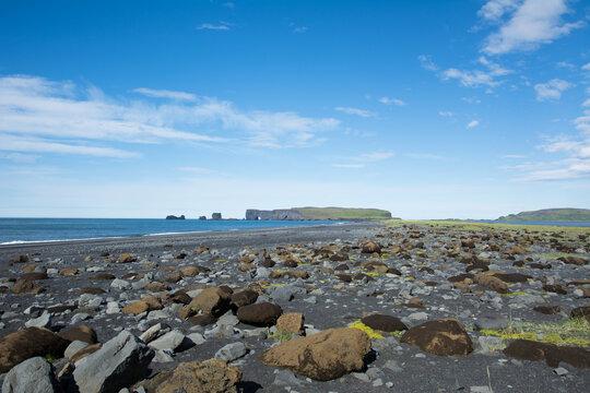 Black sand beach and rocks of Reynisfjara, Iceland