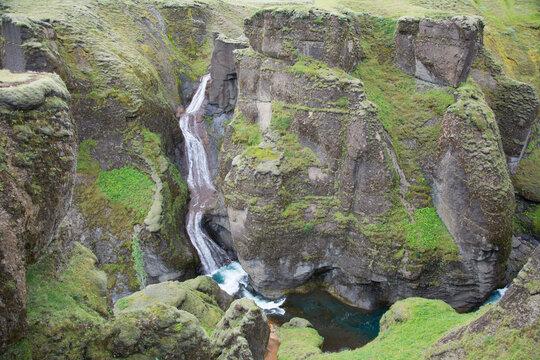 Waterfalls in Fjaðrárgljúfur canyon, Iceland