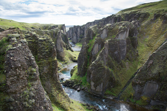 Fjaðrárgljúfur canyon and Fjaðrá river, Iceland
