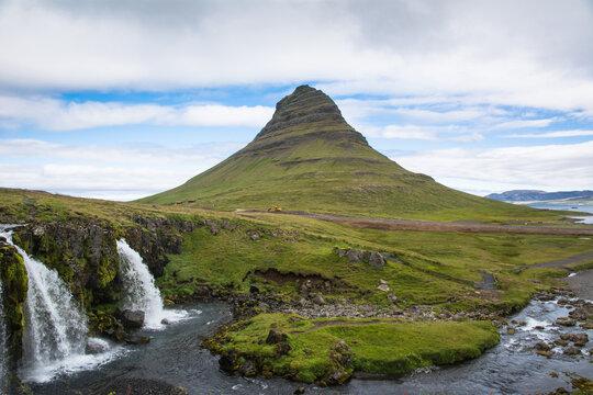 Kirkjufell mountain and waterfalls, Iceland landscape