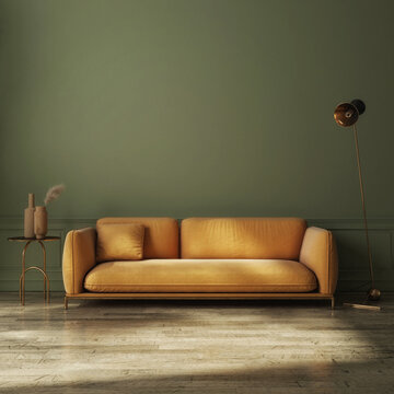 Modern dark green home interior with yellow couch, home decoration. 3d illustration, 3d render