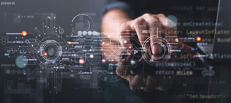Digital transformation, IoT, Internet of Things, Software technology development concept. Software engineer coding on laptop computer with innovation technology interface