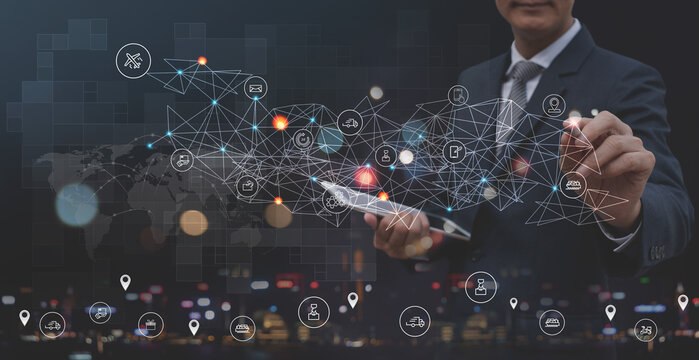 Global logistics network distribution and transportation, Smart logistics, supply chain concept, Business man touching on interface panel of global network distribution