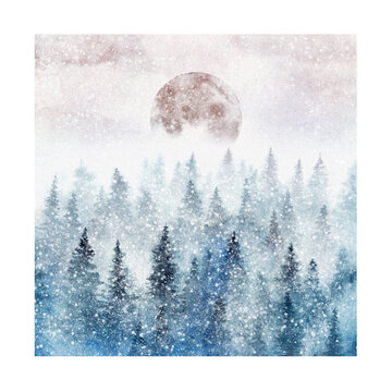 Snowy spruce forest and full Moon painted with watercolor