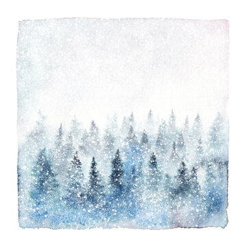 Winter forest covered with snowflakes. Watercolor painting isolated on white background.