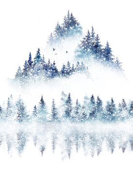 Snowy spruce forest painted with watercolor and isolated on white background