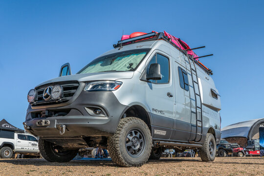Loveland, CO, USA - August 27, 2021:  Winnebago Revel, class B camper van with off-road capabilities, during Overland Expo Mountain West event.