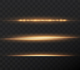 Gold horizontal lens flares pack. Laser beams, horizontal light rays. Beautiful light flares. Glowing streaks on light background. Luminous abstract sparkling lined background.