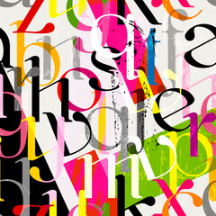 seamless background pattern, with stripes, letter, alphabetic character, paint strokes and splashes