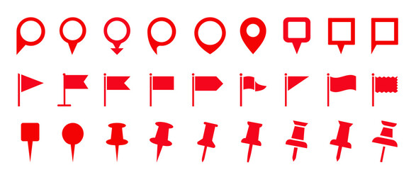 Map pin icon set. Map marker pointer icon set. Modern map markers. location pin sign. map, icon, pen, marker, set, pointer, symbol, vector, sign, GPS, location, Stock vector illustration.