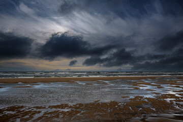 Beach of Katwijk aan Zee on a stormy day, South Holland Province, The Netherlands