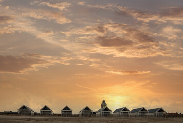 Coastal development near Katwijk in the form of dune chalets, Zuid-Holland Province, The Netherlands