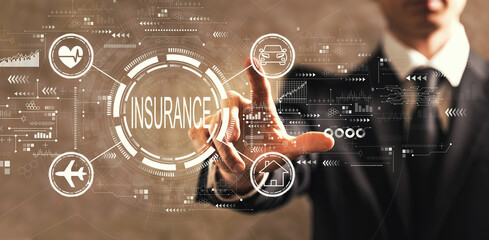 Insurance concept with businessman