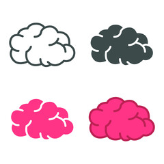 Brain inside view. line sign for mobile app, websites. Brain, mind or intelligence. Human internal organ, inner body part. Brain icon. Vector illustration. Design on white background. EPS10