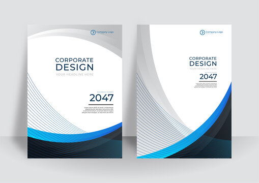 Modern blue black white brochure design, cover modern layout, annual report, poster, flyer in A4 with colorful waves, geometric shapes for tech, science, market with light background