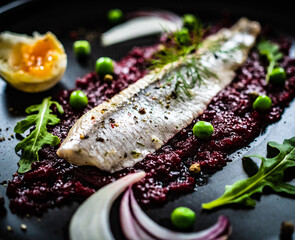Marinated herring fillet with beetroots puree, hard boiled boiled egg, onion and green peas on wooden black table