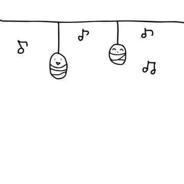 ミノムシ音符線画イラスト(コピースペース)