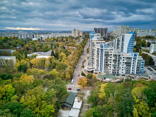 Obraz Aerial view of the city at sunset. Beautiful autumn city landscape. Kishinev, Moldova republic of. - fototapety do salonu
