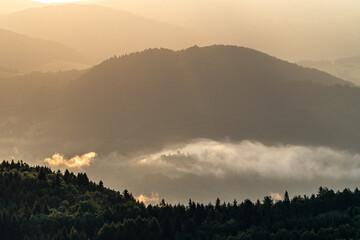 Mglisty wschód słońca nad Doliną Popradu, Piwniczna Zdrój w Beskidzie Sądeckim